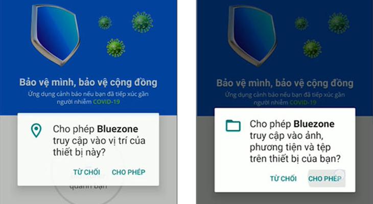 Cho phép Bluezone truy cập một số quyền cần thiết