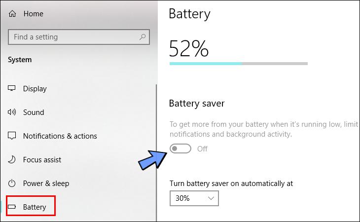 Tại cửa số Battery nhấn vào công tắc bật hoặc tắt chế độ tiết kiệm pin.