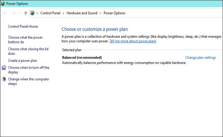 Additional power settings nó sẽ chuyển sang giao diện Power Option