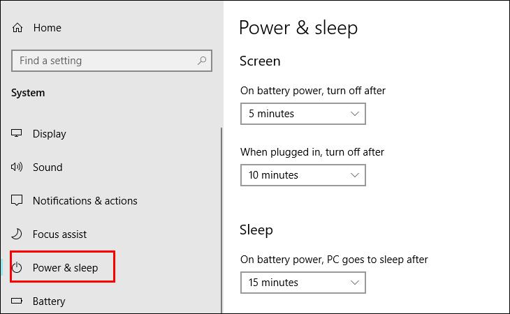 Tùy chỉnh cài đặt Phần Power & Sleep.