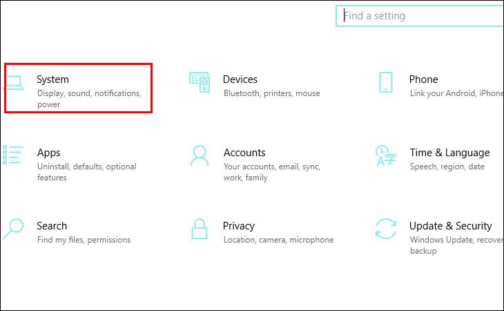 Cửa số xuất hiện nhấn chọn System