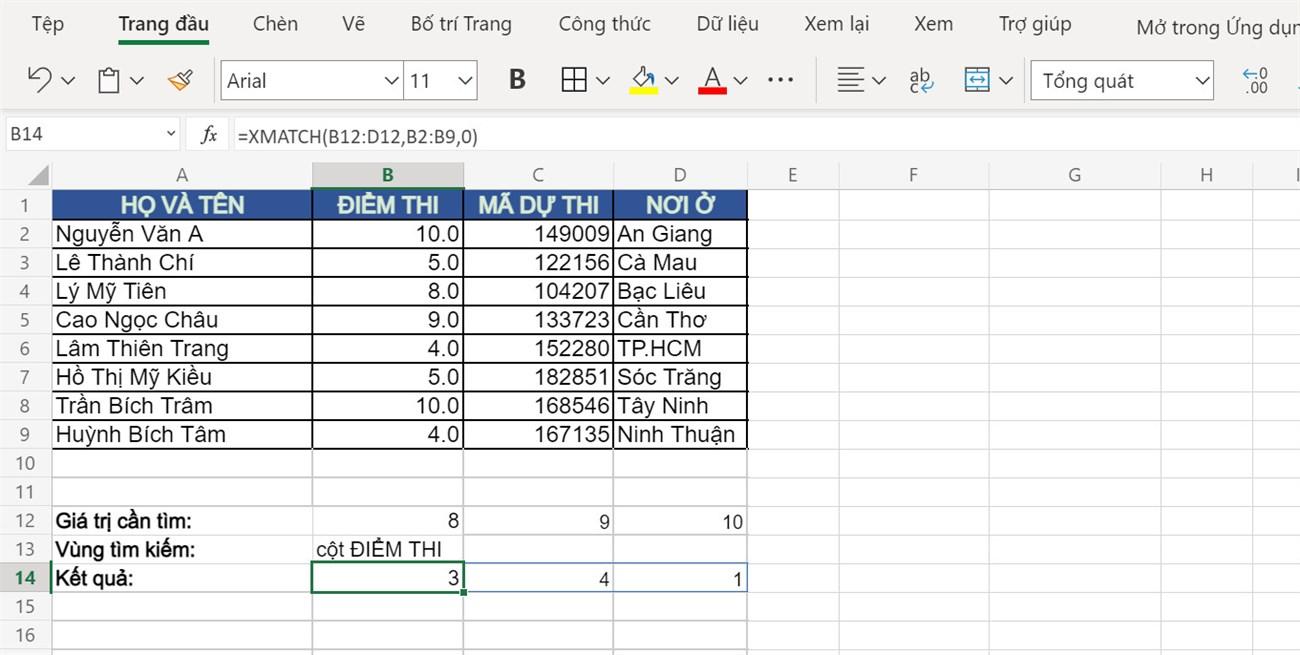 Kết quả sử dụng hàm XMATCH để trả về vị trí nhiều điểm thi cùng một lúc.