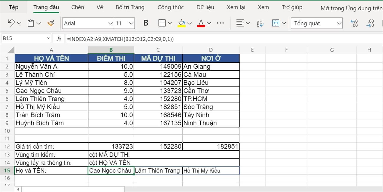 Kết quả sau khi sử dụng hàm MATCH kết hợp INDEX