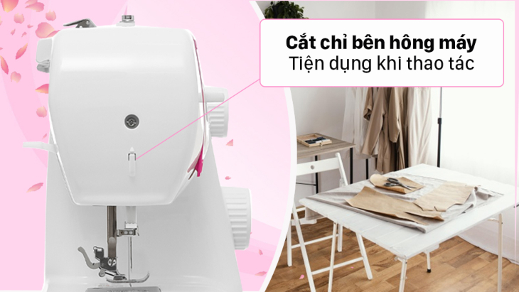 Tính năng cắt chỉ bên hong máy trên máy may gia đình tiện lợi khi sử dụng