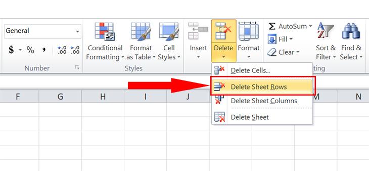 Chọn Delete Sheet Rows