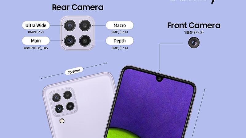 Samsung Galaxy A22 có 4 camera chất lượng với camera chính 48 MP