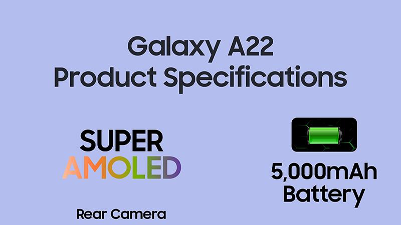 Samsung Galaxy A22 có viên pin 5.000 mAh và sạc nhanh 15 W