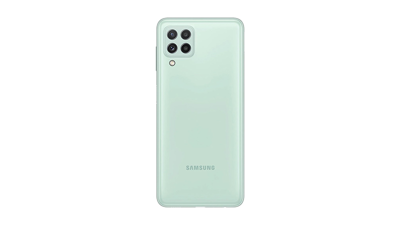 Samsung Galaxy A22 có mặt lưng giả kính và khung viền bằng nhựa cho cảm giác cầm nắm thoải mái