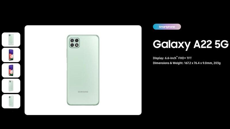 Thông số màn hình của Galaxy A22 5G