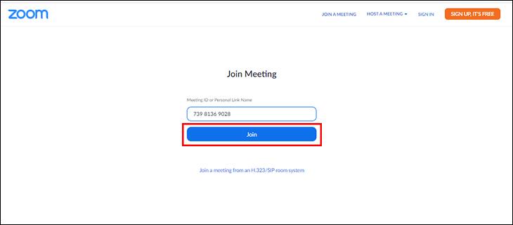 Nhập ID phòng họp và bấm Join