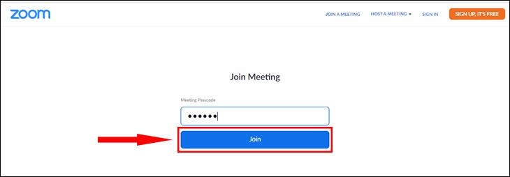 Nhập mã cuộc họp và bấm Join