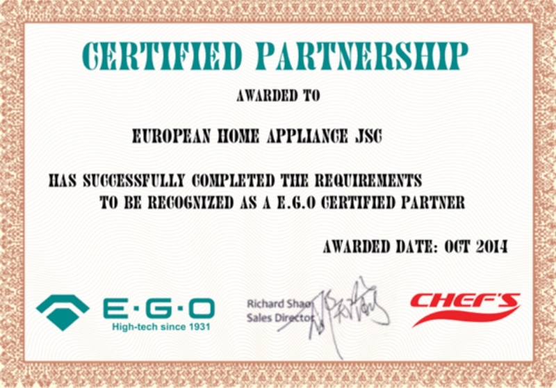 Chứng nhận hợp tác E.G.O