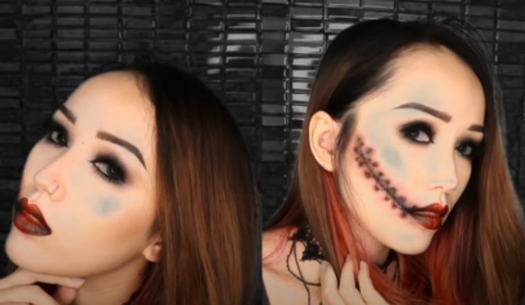 Cách makeup Halloween kiểu khâu môi