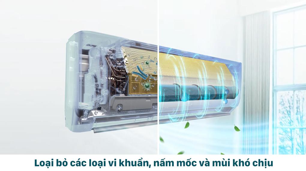 Tính năng X-Fan loại bỏ vi khuẩn, nấm mốc và mùi khí chịu