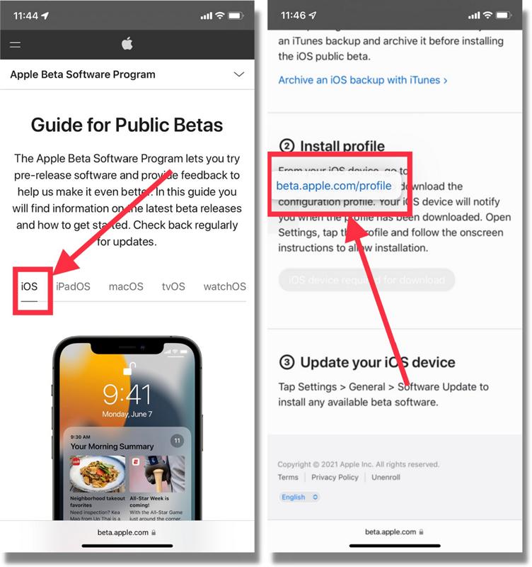 Đăng ký tải iOS 15 Public Beta về iPhone.