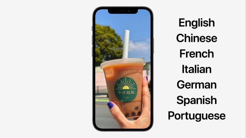 Hiện Live Text chỉ hỗ trợ 7 thứ tiếng (Anh, Trung, Pháp, Ý, Đức, Tây Ban Nha và Bồ Đào Nha). (Nguồn: Apple).