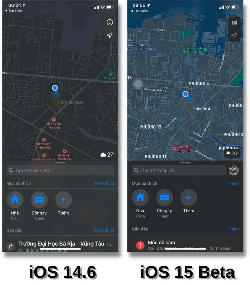 Giao diện ứng dụng Apple Maps (Bản đồ) của iOS 14.6 (bên trái) và iOS 15 Beta (bên phải).