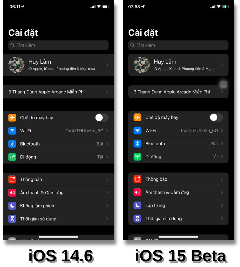 Giao diện ứng dụng Cài đặt của iOS 14.6 (bên trái) và iOS 15 Beta (bên phải).