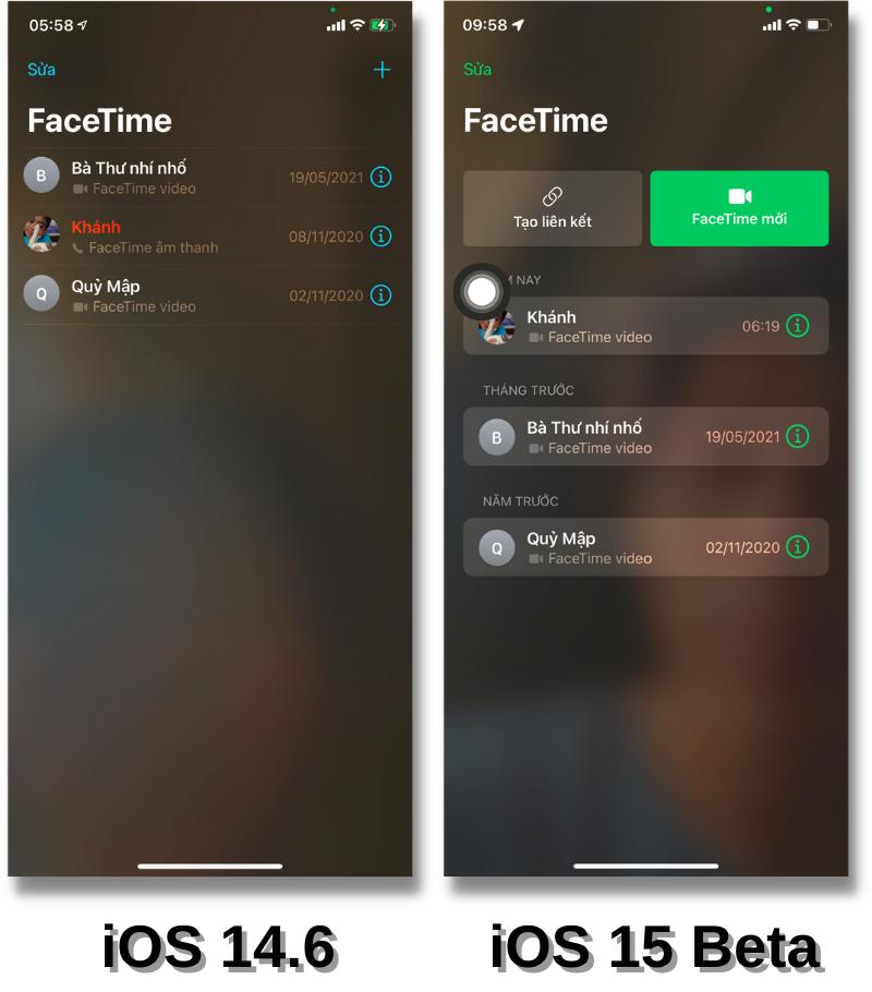 Giao diện ứng dụng FaceTime của iOS 14.6 (bên trái) và iOS 15 Beta (bên phải).