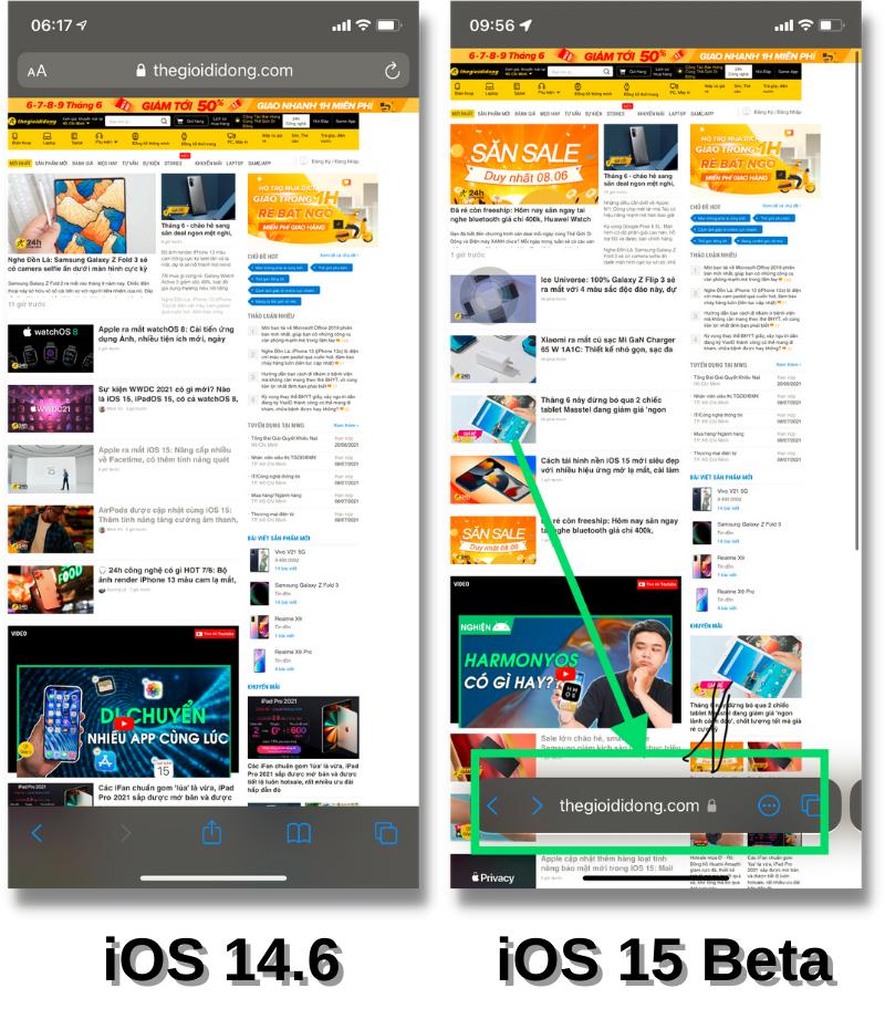 Giao diện trình duyệt Safari của iOS 14.6 (bên trái) và iOS 15 Beta (bên phải).