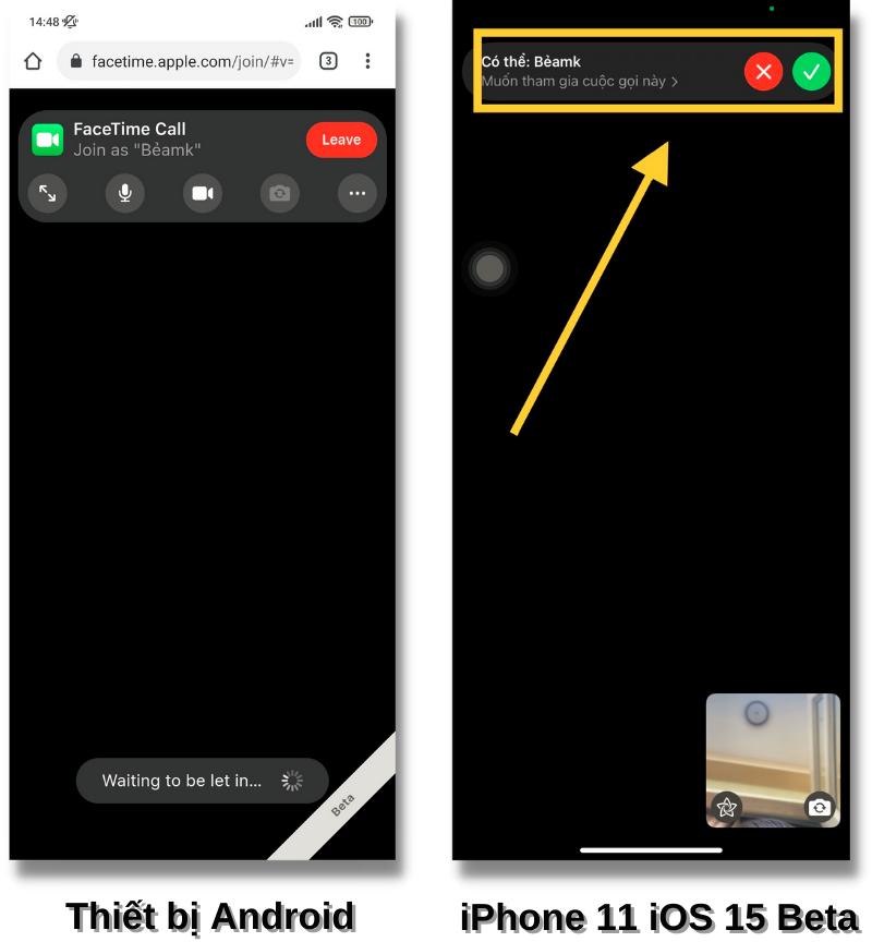Mẫu smartphone Android (bên trái) mà mình thử nghiệm cũng gặp tình trạng tương tự như vậy, dù đã xin cấp quyền nhưng iPhone 11 của mình không thể bấm vào được nút tích màu xanh (bên phải).