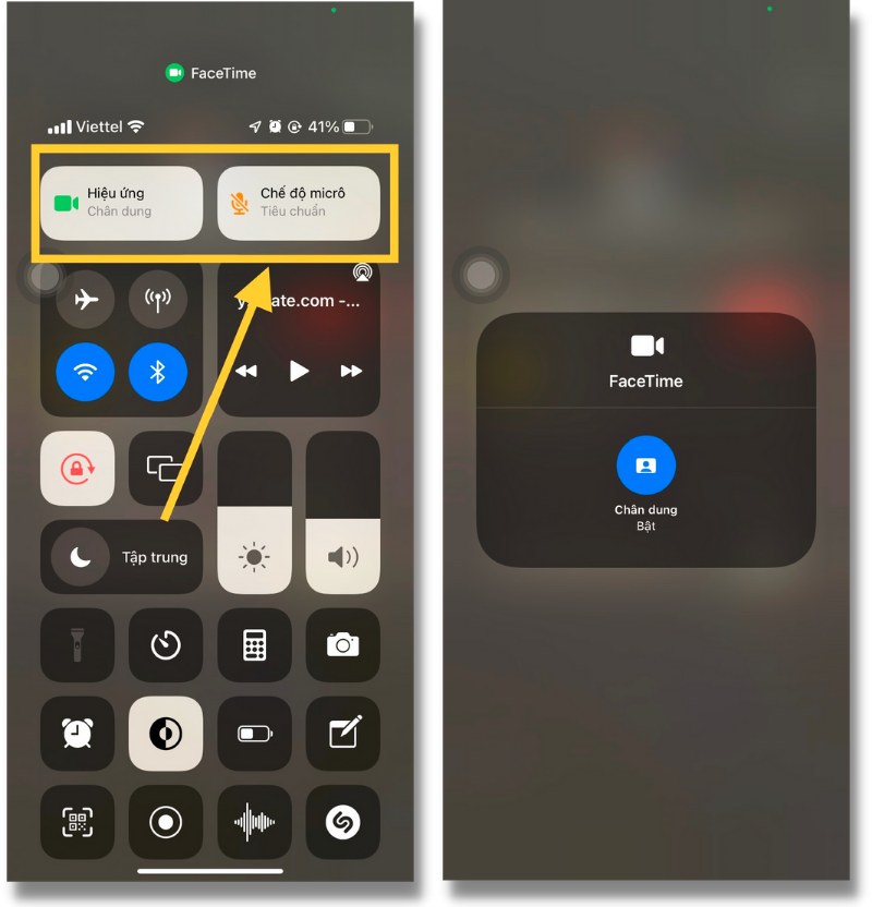 Tính năng gọi FaceTime xóa phông trên iPhone 11 chạy iOS 15 Beta.