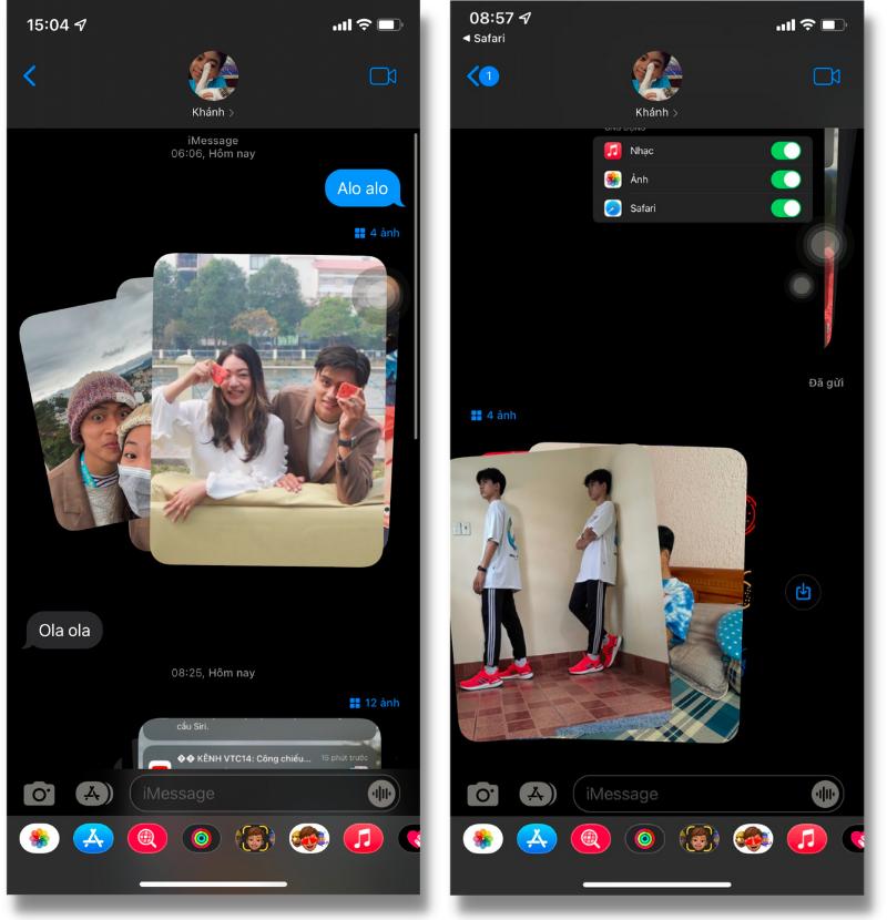 Hiệu ứng sắp xếp hình ảnh trong ứng dụng tin nhắn (Messages).