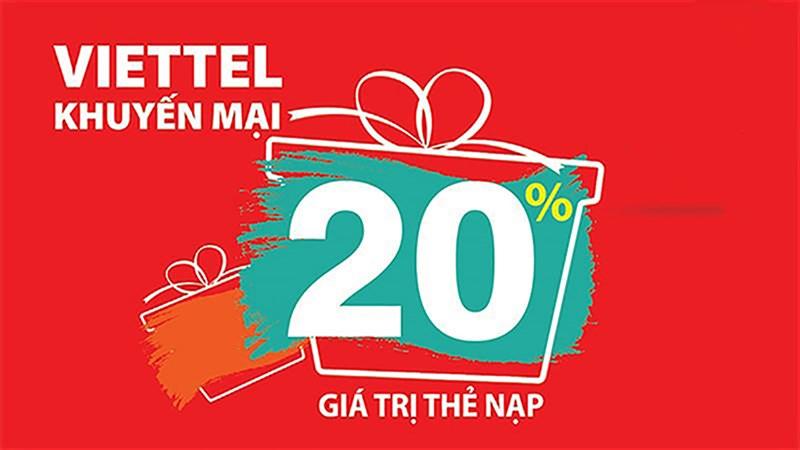 Chỉ hôm nay: Mua thẻ cào Viettel nhận khuyến mãi 20% giá trị thẻ nạp
