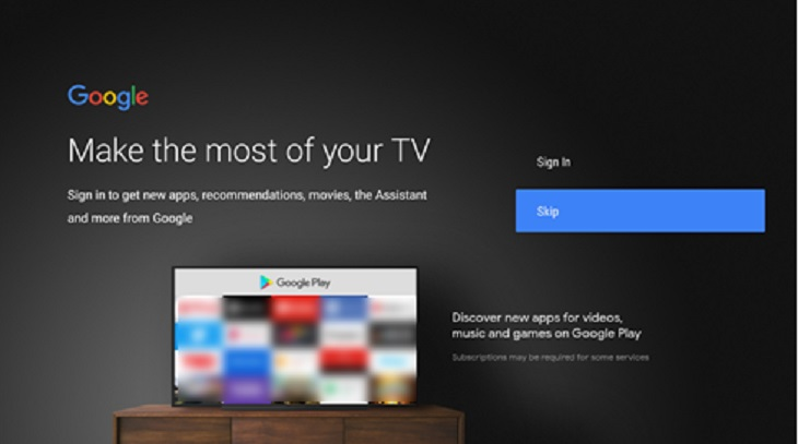 Chọn Skip khi xuất hiện Make the most of your TV
