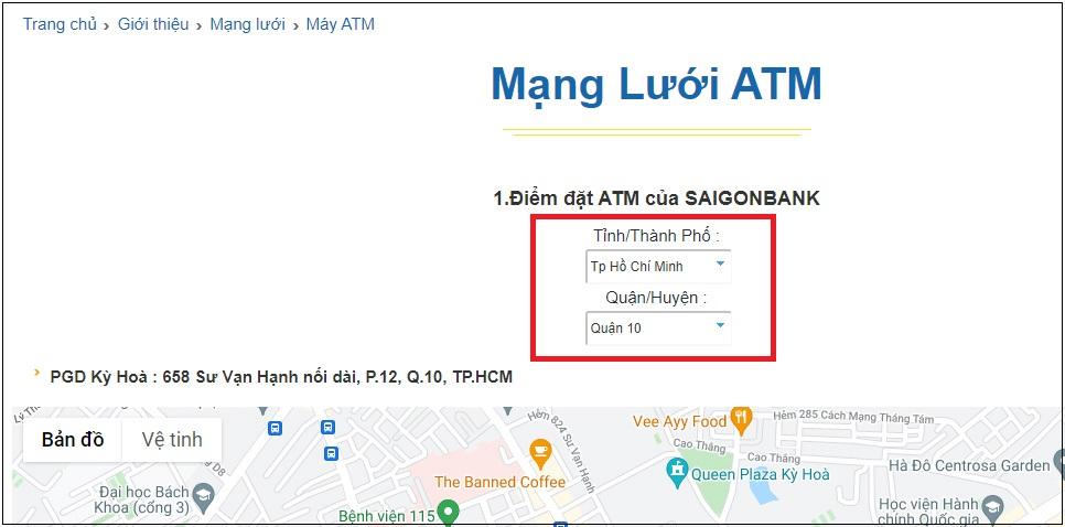 Bước 1: Truy cập vào trang web chính thống của Saigonbank và nhập thông tin địa điểm