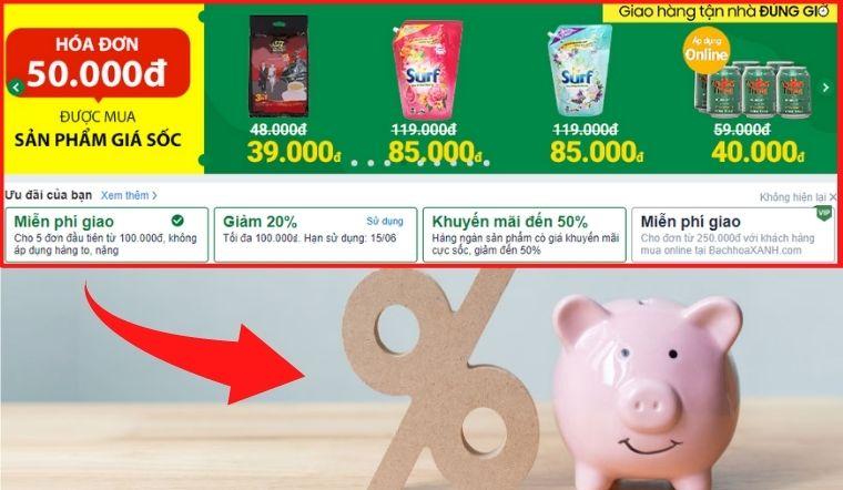Bí quyết săn sale, mua hàng trên BachhoaXANH.com giảm phân nửa tiền chợ