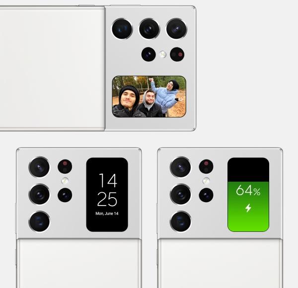 Cận cảnh camera sau và màn hình phụ trên concept Galaxy Note 21 Ultra BG