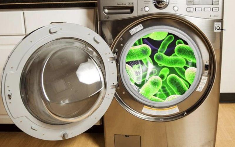 nếu không thường xuyên vệ sinh máy giặt thì lâu ngày vi khuẩn, bụi bẩn tích tụ lại gây mùi khó chịu