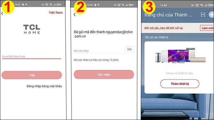 Hướng dẫn đăng nhập đối với người dùng đã có tài khoản TCL Home