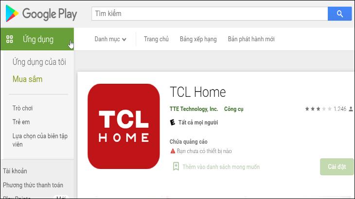 Ứng dụng TCL Home trên Google Play