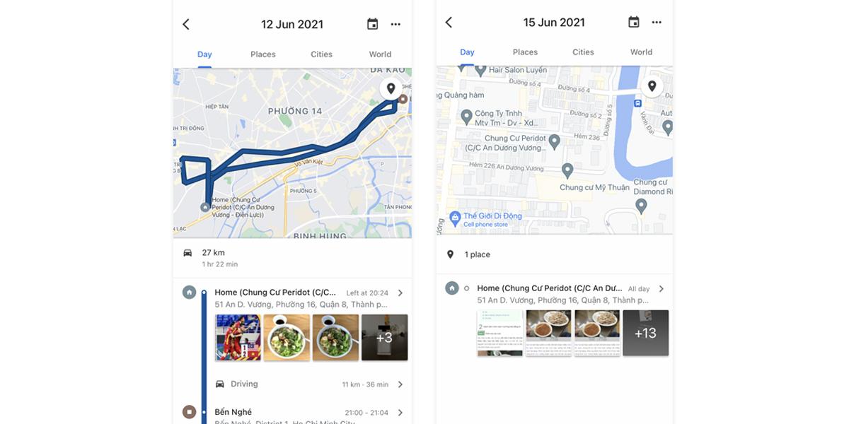 Ví dụ về lưu hành trình theo ngày trên Google Maps