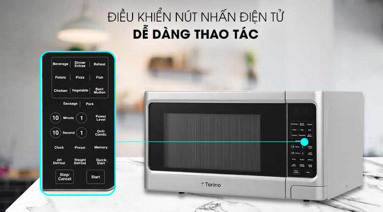 Lò vi sóng Torino có bảng điều khiển nút nhấn điện tử hiện đại bằng tiếng Anh