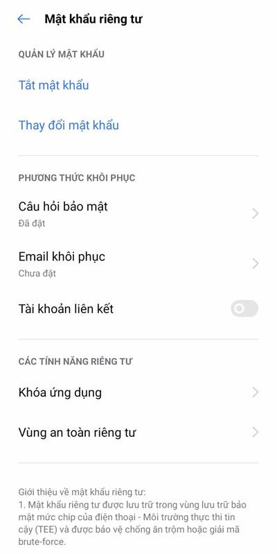 Khóa ứng dụng OPPO