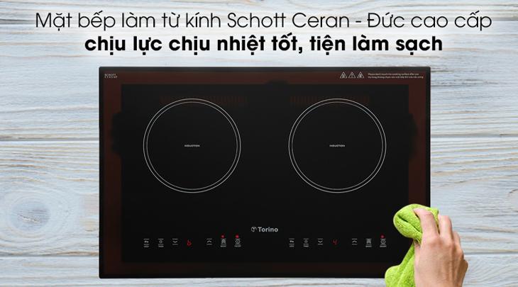 Bếp từ Torino trang bị mặt kính Schott Ceran cho khả năng chịu nhiệt tốt