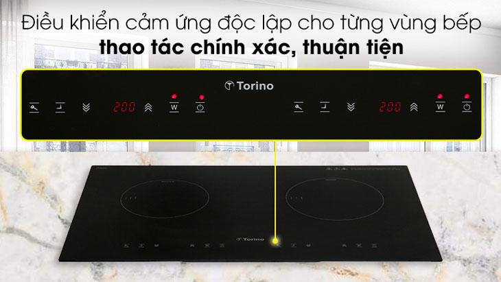 Bếp từ Torino được tích hợp bảng điều khiển cảm ứng độc lập cho từng vùng nấu