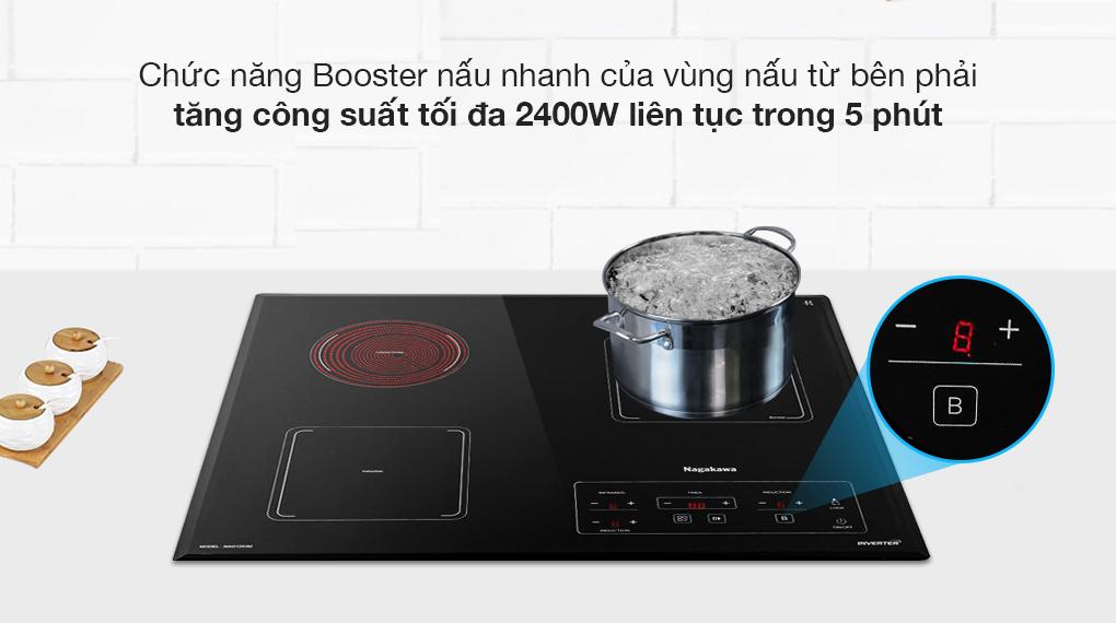 Bếp điện từ Nagakawa trang bị chức năng Booster nấu siêu nhanh