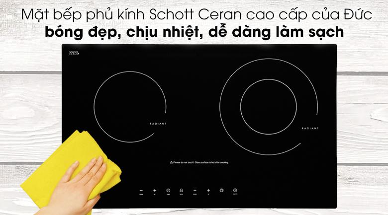 Bếp hồng ngoại Torino có mặt kính Schott Ceran cao cấp, siêu bền và dễ dàng vệ sinh