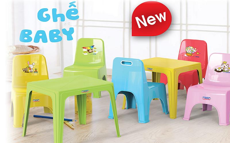 Ghế nhựa Duy Tân dành cho trẻ em có lưng tựa với nhiều màu sắc