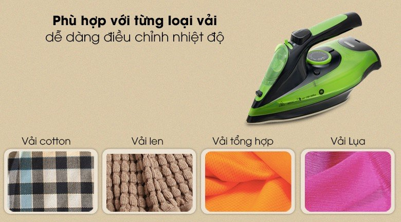 Bàn ủi dễ dàng điều chỉnh nhiệt độ phù hợp với từng loại vải