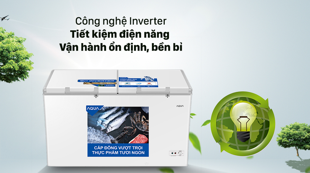 Tủ lạnh AQUA tiết kiệm điện năng hiệu quả nhờ công nghệ Inverter