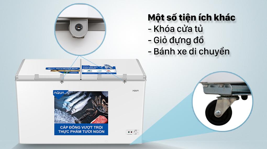 Tủ đông AQUA trang bị nhiều tiện ích đi kèm, hỗ trợ tối ưu cho người dùng