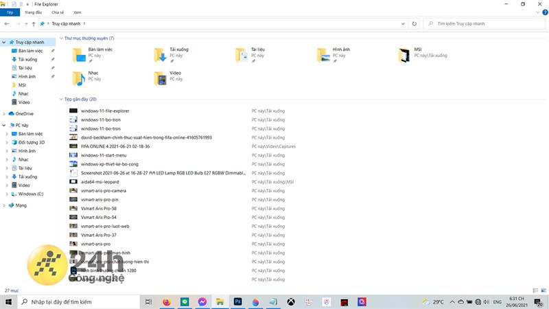 Các biểu tượng trong File Explorer cũ trên Windows 10.