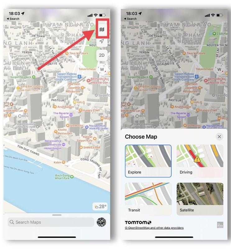 Giao diện bản đố trên iOS 15 Beta 2 khá trực quan, bạn còn có thể chọn cả chế đọ bản đồ muốn xem nữa.