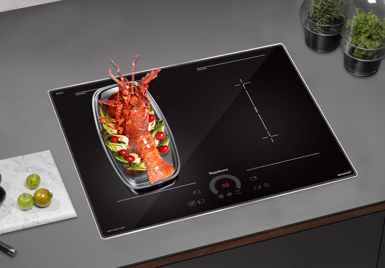 Bếp điện từ thông minh Nagakawa kết hợp nhiều mâm từ hoạt động tạo hiệu năng mạnh mẽ