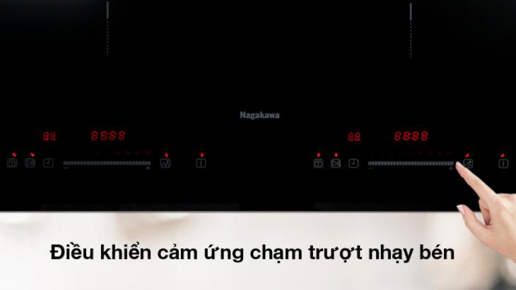 Bếp từ đôi Nagakawa NAG1213M có bảng điều khiển cảm ứng trượt nhạy bén